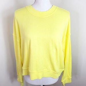 NWT Splendid Neon Yellow Cropped Sweatshirt